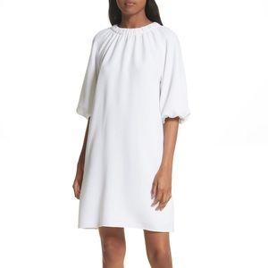 TiBi mica crepe shirted white dress 8 NWT